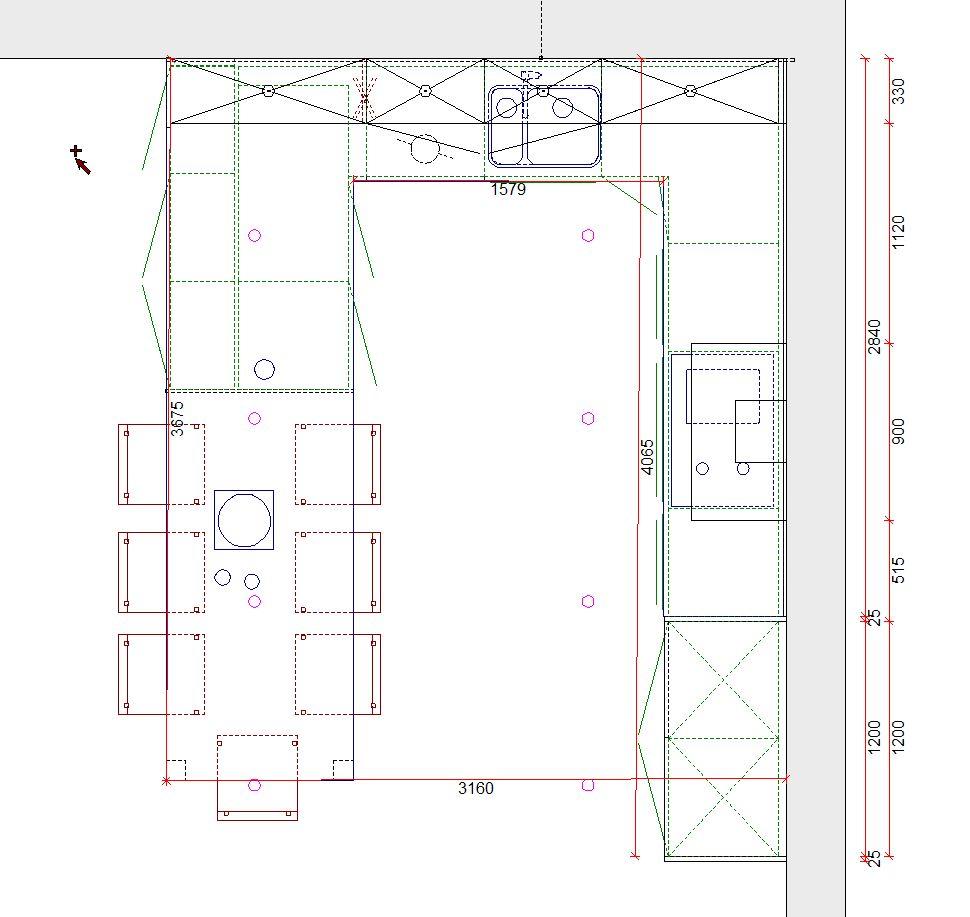 Grondplan van een eigentijdse keuken - ACK Keukens