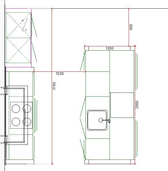 Grondplan van een keuken in massief hout - ACK Keukens